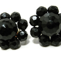 Black Vintage Earrings Plastic Screw Back Cluster Mid Century Womens Jewelry