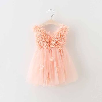 2-6y toddler girls peach petal Princess Dress kids Party Role-play Costume children Summer V-neck dress Brand kids Clothes