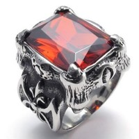 KONOV Jewelry Stainless Steel Red Crystal Dragon Claw Men's Ring