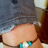 Freshwater Pearl, Genuine Turquoise and Brown Leather Anklet