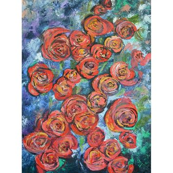 Large Original Oil Painting - Red Roses 30 x 40 Inches