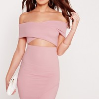 Missguided - Ribbed Bardot Bodycon Dress Lilac