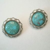 West Germany Faux Turquoise Clip On Button Earrings Vintage Jewelry