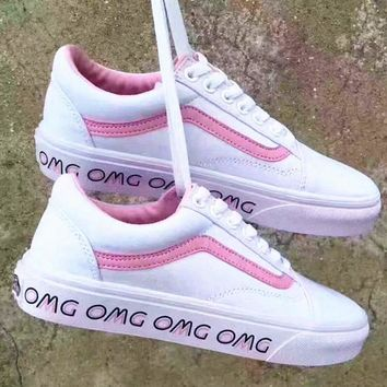 Fashion Online Vans With Warm Casual Shoes Women Pink Soles Print Monogram Cloth Shoes Pink