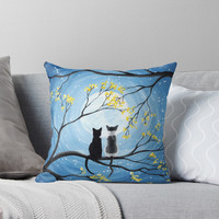 'Cats Full Moon ' Throw Pillow by ironydesigns