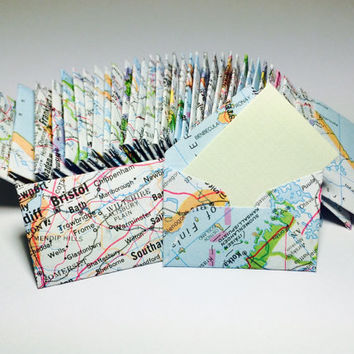 Mini map atlas envelopes with tiny note cards 1x1.5""