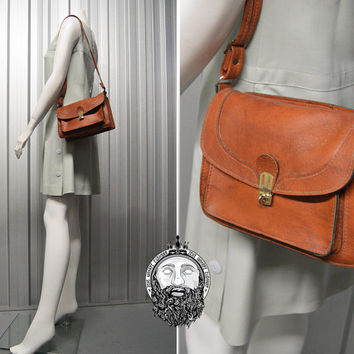 Vintage 80s Brown Real Leather Mini Purse Satchel Bag Small Handbag School Bag Womens Briefcase Hipster Bag Buckle Genuine Small Leather