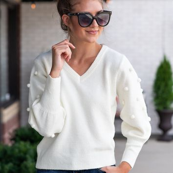 Rumor Has It Pom Pom Sweater : Ivory