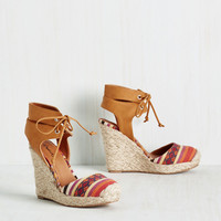 Rhythm and Cruise Wedge in Camel | Mod Retro Vintage Heels | ModCloth.com