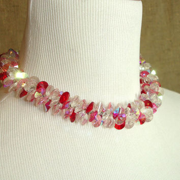 Signed Vintage Vendome Crystal Choker Necklace in Red, Pink, Clear Aurora Borealis, Collectible Designer Estate Jewelry