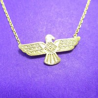 Tribal Eagle Shaped Bohemian Charm Necklace in Gold | DOTOLY