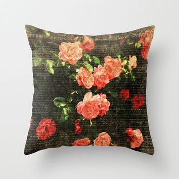 Vintage roses and scripts Throw Pillow by MJB photo design