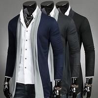 Color Contrast Trim Design Mens Open Cardigan