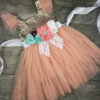 Girls Gorgeous Tulle And Sparkle Dress With Attached Sash // Flower Girl Dress // Toddler Girl Dress // Girls Party Dress // Holiday Dress