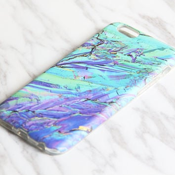 Turquoise Crystal Marble iPhone 6S Case iPhone 6 Case iPhone 6 Plus Case iPhone 6s Plus Case iPhone 5S/5 Case SE iPhone 5C Case KB-812