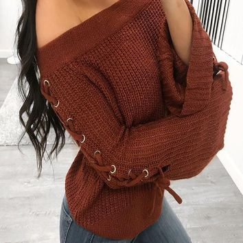 New Brown Off Shoulder Lace-up Bell Sleeve Casual Pullover Sweater