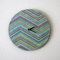 Wall Clock, Chevron Pattern, Home and Living, Decor and Housewares, Living Room, Bedroom Decor,  Wall Clock, Unique Clock, Gift