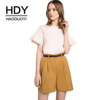 Summer Women Shirts Blouse Casual Solid Pink Ruffles O-Neck Female Tops Brief Ladies Pullovers
