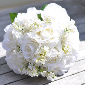 Silk Wedding Bouquet, Wedding Bouquet, Keepsake Bouquet, Bridal Bouquet White Roses with White Waxflower Wedding Bouquet.