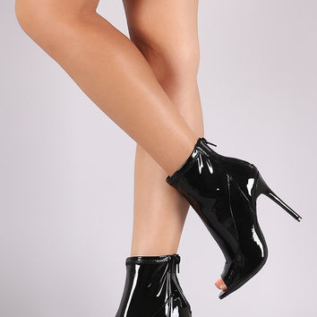Anne Michelle Shiny Peep Toe Stiletto Booties