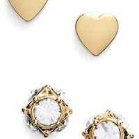 Women's kate spade new york 'north court' heart & square stud earrings - Gold- Heart (Set of 2)