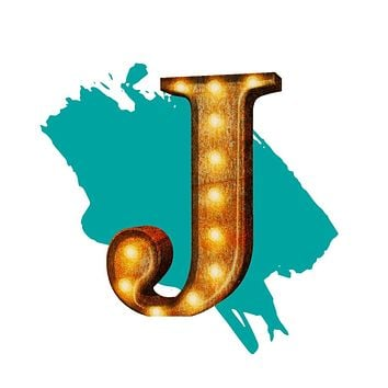 "24"" Letter J Lighted Vintage Marquee Letters (Rustic)"