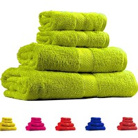 Trident Soft and Light 100% Combed Cotton 400 GSM 4-Pieces (Bath & Hand) Towel Gift Set, Bright Green