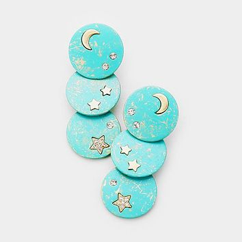 Star Moon Metal Disc Drop Earrings