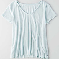 AEO V-Neck Raw Edge T-Shirt, Mint