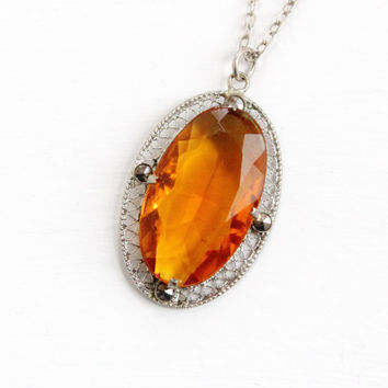 Vintage Art Deco Simulated Citrine & Marcasite Filigree Necklace - 1920s 1930s Silver Tone Brown Orange Glass Stone Jewelry