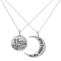 Rhodium Plated His and Hers I Love You Pendant Necklaces for Couples 19""