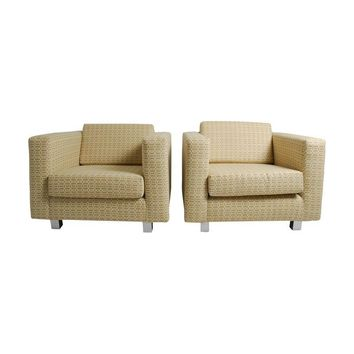 Pre-owned Linen Club Chairs by Milo Baughman - A Pair