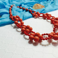 Coral Necklace - Beach Style Necklace - Flower Necklace - Beaded Coral Necklace - Choker Necklace - Coral Choker Necklace