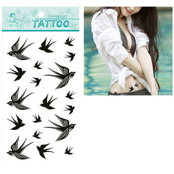 Hot Sale 1pcs  The Swallow Bird Flash Tattoo Removable Waterproof Temporary Tattoo Stickers Temporary Body Art Painting