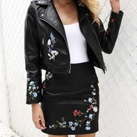Floral Embroidery Faux Leather Jacket