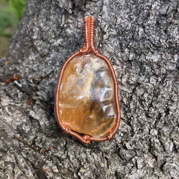Orange Calcite Wire Wrapped Pendant, Crystal Jewelry, Crystal Necklace
