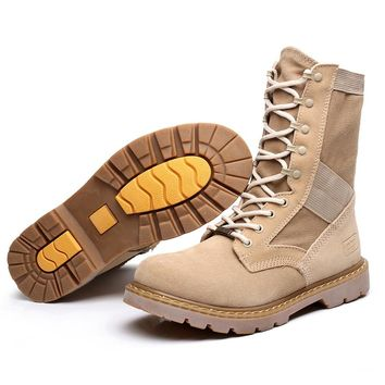 Men winter boots Genuine Leather Tactical Men's working Combat Military Boots Suede Stitching Canvas size 39-45