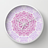 A Glittering Colorful Mandala 2 Wall Clock by Octavia Soldani | Society6