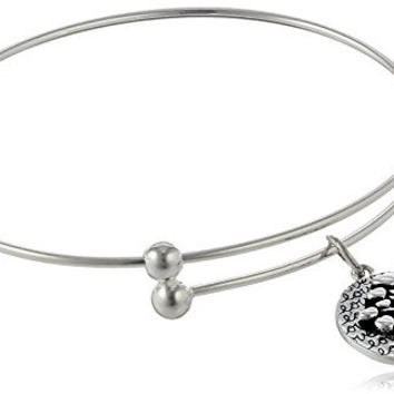 "Sterling Silver Adjustable ""Family Where Life Begins and Love Never Ends"" Tree Charm Bangle Bracelet"