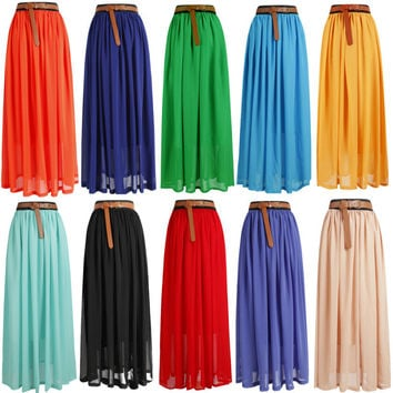 HOT!SALE! Women Lady Girl Chiffon pleated Retro Long Maxi Skirt Dress |26 select