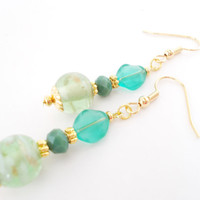 Sea Green Lampwork Glass Beaded Earrings, Moss Green Czech Glass Earrings, Teal Green Jewelry, Green and Gold Earrings