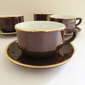 Apilco 1980's vintage cup and saucer, Cappuccino, Brown and gold cup, Breakfast cup, Coffee cup, Morning coffee