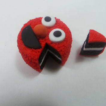 Miniature Cookie Monster Or Elmo Inspired Polymer Clay Cake