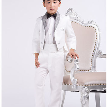 Four Pieces White Swallow-tail Ring Bearer Suit