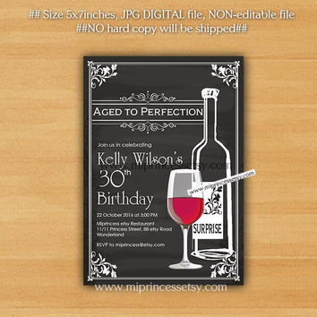 Wine birthday invitation, Aged to Perfection, Chalkboard Party Invitation cheers for any age gathering Party invitation Design - card 453