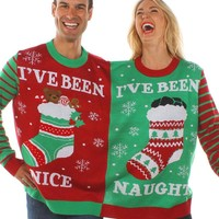 Red UGLY XMAS CHRISTMAS SWEATER Santa Elf Novelly Women Men Couple Funny Sweatshirt