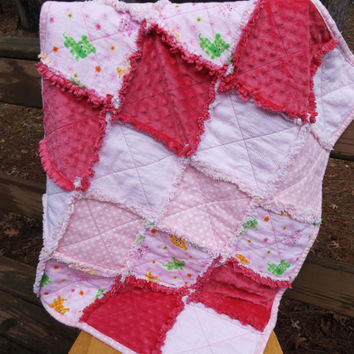Handmade Large Puppies and Kittens Flannel and Minky Rag Baby or Crib Quilt in Pink, Lime and Yellow