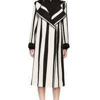 Acne Studios Black And White Jacquard Striped Hooded Tria Coat