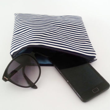 Striped purse, nautical navy pouch, zipper pouch organizer, blue navy and white, italian handbag