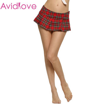 Avidlove Brand Women Fashion Sexy Lady Schoolgirl Cosplay Sleepwear Plaid Night Super Mini Pleated Skirt